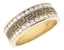 14k Yellow Gold Greek Key Diamonds .99ct Carbon Fiber Mens Wedding Rind Band
