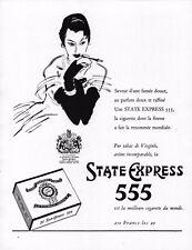 ▬► Publicité STATE EXPRESS 555 Cigarette Tobacco Original French Print ad 1957