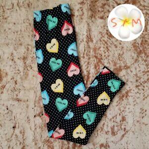 Agnes & Dora Leggings Valentine candy hearts polka dot size S/M 4-12 NWT
