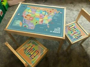 Personalised Children's Ikea LATT Wooden Table and 2 Chairs Printed USA Map