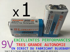 1 PILE ACCU RECHARGEABLE 9V Ni-Mh 400mAh 6LR61 6F22 BATTERIE FRANCE BLUEBABY