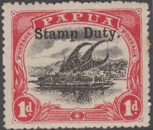 Stamp Papua 1d red & black Lakatoi STAMP DUTY overprint Barefoot cat No 5b
