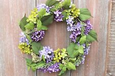 GISELA GRAHAM EASTER WEDDING PARTY SHABBY CHIC COUNTRY PURPLE HYDRANGEA WREATH