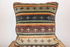 Hand woven Tibetan meditation wool blend multi-color cushion cum pillow Cover