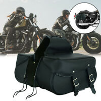 NEW Motorcycle Leather Accessory Box Motorbike Saddle Bag Pair Sportster Pannier