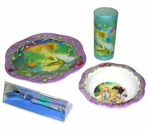 5pc Dining Feeding Set Plate Bowl Tumbler Spoon Fork Set Tinkerbell Fairies New