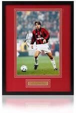 Rare ! Alessandro Costacurta Signé À La Main AC Milan 30.5x20.3cm Photo Encadrée