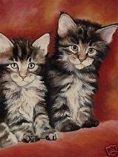 12x16 Maine Coon Kittens Cat Art Print of Painting Vern