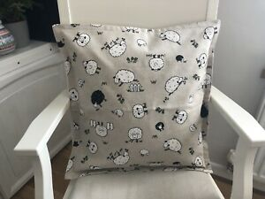 "Handmade Cute Linen Look Sheep Print Envelope Back Cushion Cover 17"" X 17"""