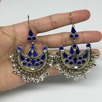 Kuchi Earrings Ethnic Tribal Jingle Bells Blue Glass Bib Half Moon Earring KE262