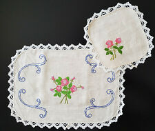 VINTAGE DOILIES x 2 - PINK ROSES ON LINEN - BEAUTIFULLY HAND EMBROIDERED
