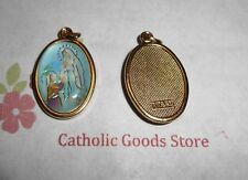 Our Lady of Lourdes Italian 1 inch Gold Tone and Enameled - Medal