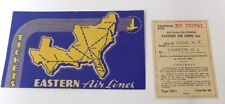Vintage 1940 Eastern Airlines  Ticket Holder & Stub  NY to Camden NJ