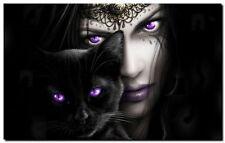 GQ08 GOTHIC ANGEL & BLACK CAT- QUALITY CANVAS ART canvas Poster