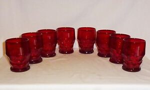 """Georgian Eight Red Water Tumblers (4"""" Tall Holds 9 oz)"""