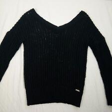 Guess Open Knit Sweater Women Size S Black V-Neck