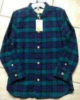 Mini Boden Boys Shirt Grandad Collar Shirt Moringa Green/Daphne Blue Size 6-7