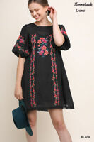 UMGEE Black Floral Embroidered Crochet Trim JUNIORS Dress USA Boutique