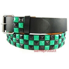 Pyramid Studded Snap On Leather Belt XL 40-44 Green/ Blk