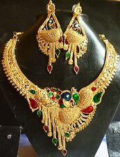 South Indian 22k Gold Plated Peacock Meenakari Necklace Earrings Wedding Set ,.