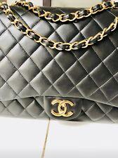Chanel Classic Maxi Double Flap Gold Hardware Black Quilter Handbag