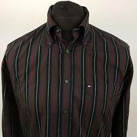 Tommy Hilfiger Mens Shirt MEDIUM Long Sleeve Regular Fit Striped Cotton