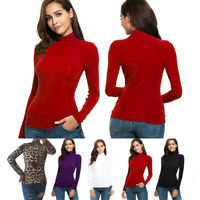 Women Printed Tops Winter Turtleneck Long Sleeve Slim Sweaters Stretchy Shirts