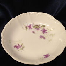 "HABSBURG CHINA AUSTRIA FRUIT OR DESSERT BOWL 5 7/8"" VIOLETS PURPLE FLOWERS"