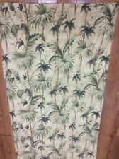 RALPH LAUREN SHOWER CURTAIN TROPICAL TAN GREEN PALM TREES PARADISE 100% COTTON