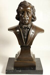 """12"""" F. CHOPIN Bronze Cast Metal on Marble Base - Musical Composer Bust"""