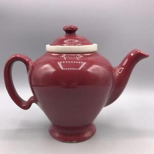 Vintage Hall McCormick Tea Pot Maroon Ceramic Infuser USA Maryland