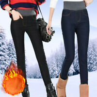 Women Fleece Lined Thermal Trousers Stretch Denim Jeans Leggings Winter Jeggings