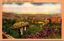 Postcard Arroyo  Seco Bridge Pasadena California.