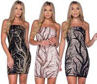 Vestito donna mini abito elegante fascia party cerimonie rami paillettes nuovo