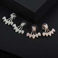 Women's Fashion Crystal Love Heart Hook Dangle Ear Stud Earrings Wedding Jewelry