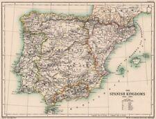 IBERIA. Spain. The Spanish Kingdoms 1263-1492. Portugal 1902 old antique map