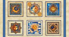 .6 Yard Cotton Fabric - Quilting Treasures Dan Morris Celestial Sol Squares Crm