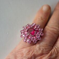 Beautiful Pink Tourmaline Filled Silver Ring 6.6 Gr.Size S - US 9.5 In Gift Box