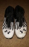 Under Armour Men's Football Cleats Size 12 M Black white Mid
