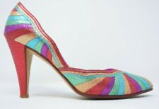 Andrea Pfister Heels Womens Metallic Rainbow Leather Pumps 7.5 Vintage PRIDE!!!!