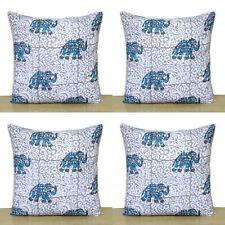 """Blue Elephant 4 Pcs Sets Indian Hand Block 16"""" Cotton Pillow Case Cushion Covers"""