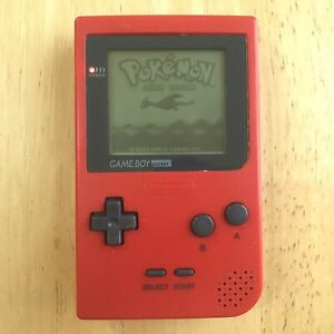Nintendo Gameboy Pocket Red System W/ Battery Cover Tested Cleaned MGB-001