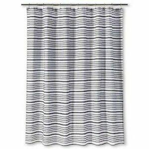 Threshold Black Ebony Stripe Arrow Fabric Shower Curtain ~ Cream Off White