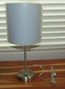 120V Bar Table Desk Lamp Bedroom Light Fixture Gray Grey Shade Metallic Look NEW