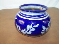 Cobalt Blue Pot Pottery Planter Vase Heavy Leaf Design