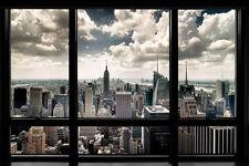 NEW YORK WINDOW 24X36 POSTER NYC VIEW WALL ART MANHATTAN CITY SKYSCRAPERS SKIES!
