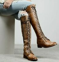 $345 Women's Size 6 Bed|Stu Della Leather Lace-Up Boots In Brown