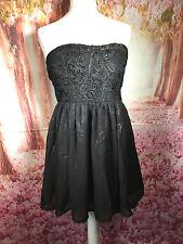 rage london chiffon black lace net metallic sheen bandeau dress 14 stretch back