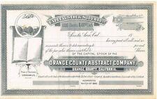 Orange County Abstract Company > 1889 Santa Ana California stock certificate