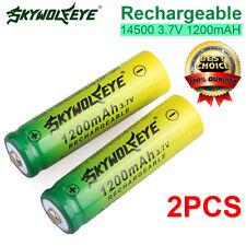 2PCS 14500 3.7V 1200mAH BRC Rechargeable Li-ion Battery For Flashlight Torch